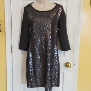 Charcoal Gray Sequin Front Midi Knit Dress